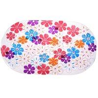 bathtub non slip - 1pcs Colorful Chrysanthemum Dots PVC Non Slip Bath Mat Bathtub Mat Shower Mat Bathroom Toilet Rugs
