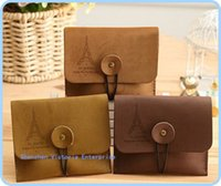 handbags paris - 20PCS Mini Retro Paris Girls Lady Girl s PU Coin Purse Key BAG Wallet Pouch Case Wrist Coin BAG Storage Holder BAG Handbag
