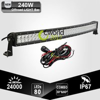 Wholesale 42 Inch W Off Road LED Light Bar Curved Combo Beam Adjustable Bracket Auto SUV Trailer WD Refit Roof LED Driving Lamp Light