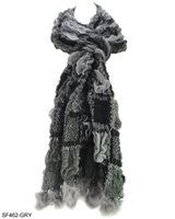 Wholesale Colors Warm Winter Scarves New Arrival Women Plicated Colour Block Knitted Scarf with Rabbit Fur SF462