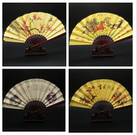 chinese fans - Chinese Vintage Silk Fabric Fans Bamboo Hand Folding Wedding Party Decor Summer Cool Double sides Art Mens Fan