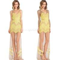 women dress drop ship - Women Fashion Sexy V Neck Vest Dress Sleeveless long Dress Evening Party Lace Maxi Dress Gauze Dress Drop Shipping CB033172