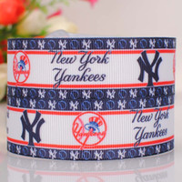 baseball grosgrain ribbon - 7 quot mm Baseball Team New York Yankees Sport Printed grosgrain ribbon hairbow DIY handmade