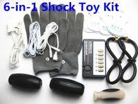Wholesale 6 in BDSM Electro Shock Sex Torture Bondage Kit Electrode Butt Plug Silver Fiber Gloves Labia Clips Vagina Anus Rings Sticky Pads grenade