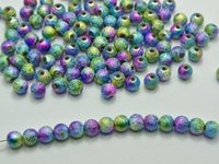 Wholesale 500 Peacock Multi Color Stardust Acrylic Round Beads mm