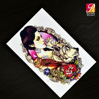 ads designs - 200 Pieces Japan Body Tattoos Design Temporary Colorful Woman Tattoo Upper Arm Tattoo Sticker Arm Decal AD