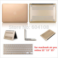 Wholesale Laptop Case Ultra Thin Gold Matt Protector Hard Case Same Color Keyboard Cover For MacBook Air Pro Retine11 inch