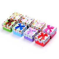 Wholesale Jewelry boxs color printing diamond ring box cloth Bowknot is jewelry box stud earrings carton