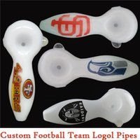 Wholesale White Spoon Pipe Raiders Seahawks Giants ers Logo Oil Burner Glass Pipes quot Custom Football Team Logo Hand Pipe Glass Pipes for Smoking