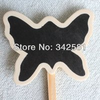Wholesale Wooden Chalkboard Butterfly on Stick Flower Plant Herb Vegetable Candy Buffet Sign Garden Supplies