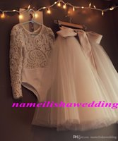 Wholesale Christmas Gowns For Baby Girls - Champagne Ball Gown Baby Flower Girls Dresses For Weddings Prom Lace Long Sleeve Cheap Tulle Little Kids First Communion Skirt Two Pieces
