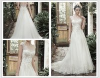 adorn wave - 2016 lace adorn bodice of A line wedding Gown with full tulle skirt edged in lace Appliques scoop neckline and V back Barbie Wedding Dress