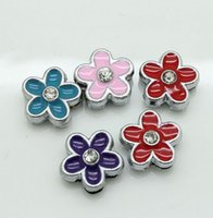 Wholesale Cute Flower MM Loose Beads Silver DIY Jewelry Accessories Slide Charm Bracelet D009