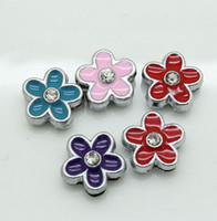 Wholesale Colors Cute Flower MM Loose Beads Silver DIY Jewelry Accessories Slide Charm Bracelet Good Quality D009