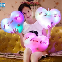 Wholesale Valentines Day Gift Colorful LED heart shaped pillow flash pillow plush toys a generation of fat