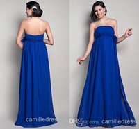 Wholesale 2015 Royal Blue Bridesmaids Dresses Maternity Formal Chiffon Bridesmaid Long Dresses Evening Sexy Strapless Backless Cheap Bridesmaid Gowns