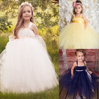 bby - Lovely Princess Many Color Flower Girl Dresses Sheer Strap Tulle Custom Made Wedding Party Gowns For Kid Bby Girl Pageant Dress Evening Gown