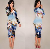 Wholesale Autumn Style Bodycon Dress Women Casual Dress Fashion Long Sleeve Autumn Dress High Waist Flower Floral Print Vintage Dresses DZ007