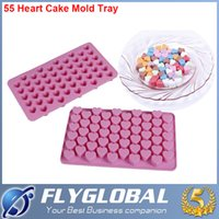 Wholesale 55 Holes Mini Heart Silicone Cake Mold Chocolate Fondant Jelly Cookie Muffin DIY Ice Cube Flexible Mould Flexible Moulds Cupcake Bake Tools