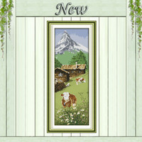alps canvas - The Alps sheep and flowers famous scenery painting Embroider sets Cross Stitch CT CT Counted print on canvas Needlework kits