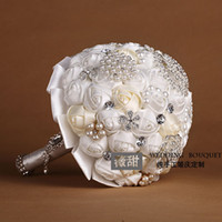 artical flower - 2015 Luxury Crystal Bling Bling Wedding Bridal Bouquet New Arrival Artical Rose Bridal Hand Holding Flower With Pearls In Stock