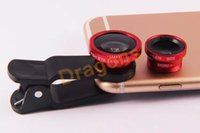 Wholesale Mobile Phone Lenses in Kits Wide Angle Macro Fish Eye Lens Universal For iphone Samsung HTC LG Sony