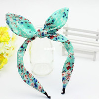 bendy wire headbands - New Arrive Wide Ribbon Bowknot Dot Print Flower Headband Hair bands Wire Bendy Bows Rabbit Bunny Ear Hair Accessories