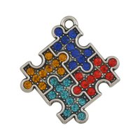 autism puzzle necklace - New Fashion Easy to diy a puzzle piece autism colorful crystals charm jewelry making fit for necklace or bracelet