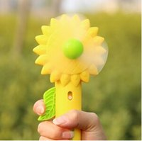 Wholesale 1PC Sunflower Portable Hand Button Atomizer Fan Mini Gifts Hand Pressure Spray Water Mist Fan Ransom Color