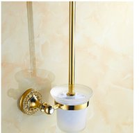 Wholesale Diamond Deco Golden Brass Bathroom Toilet Brushed Holder Glass Cup Wall Mounted
