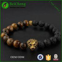 bc lions - BC Jewelry Tiger Eye Lion Head Bracelets Bangles Elastic Rope Charm Natural Stone Friendship Mens Bracelets Men Jewelry BC