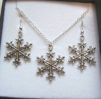 Wholesale MIC Antique silver CHRISTMAS SNOWFLAKE CHARM Gift Set Necklace Earrings Jewelry Set