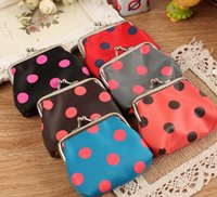 Cheap Fashion Ladies Designer Polka Dot Print Coin Purse Wallet 24pcs lot Free shipping