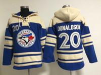 Wholesale Blue Jays Josh Donaldson Baseball Hoodies Lace Up Pullover Hooded Sweatshirt Toronto Hoodies Blue Baseball Sweater Outerwear with Hat