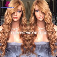 blonde full lace wigs - 100 human virgin hair Loose wave lace front wigs honey blonde glueless full lace wigs human hair