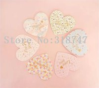 Wholesale 10 cm Romantic heart shaped folded greeting cards sets