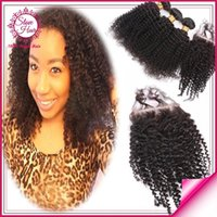 discount remy hair - 7A Brazilian Peruvian Malaysian Human Hair With Closure Unprocessed Virgin Hair Weave Kinky Curly Black Natural Discount Remy Hair Extension