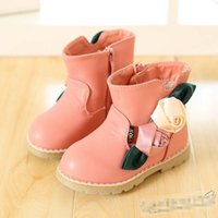 Winter boots baby fur - 2014 Winter New Baby Childs Warm Snowboots Infant Leather Fur Flower Shoes Children Gilrs Shoes Kids Martin Boots Pink Blue Rose K1555