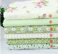Wholesale Green Assorted Pre Cut Charm Cotton Quilt Fabric Fat Quarter Tissue Bundle Best Match Floral Stripe Dot Grid Print