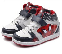 Precio de Zapatos de hombre araña para niños-2015 nuevos niños del spiderman de la manera se divierten los zapatos para el muchacho y la muchacha embroma los zapatos rojos de los niños de las zapatillas de deporte de los niños de las zapatillas de deporte