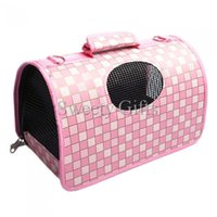 Wholesale Pink Color Deluxe High end Plaid Pet Dog Cat Handle Bag Folding Tote Anti Tearing Dog Pet Bag
