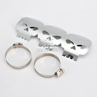 Wholesale Chrome Motorcycle Skull Exhausts Exhaust Muffler Heat Shield Cover Heel For Harley Davidson Honda Yamaha