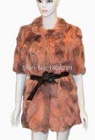 liquidation - DL7002 Inventory liquidation Real Rabbiat Fur Coats Jackets Women Nature Fur Vest Waistcoat Plus Size