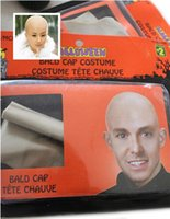 bald head cap - Funny Reusable Fake Bald Head Skinhead Wig Cap Mens Ladies Unisex Halloween party Movies Costume Dress Up