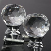 Wholesale 2pcs Glass Crystal Cabinet Drawer Furniture Knob Door Handles Kitchen Pull Handle Door Wardrobe Hardware mm Clear