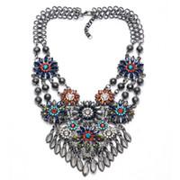 Wholesale Vintage Crystal Flower Charms Statement Necklaces Bib Maxi Choker Necklaces for Women NL027