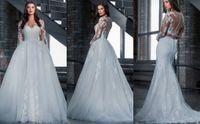 arabic tone - Stunning Detachable Train Long Sleeve Lace Appliqued Two Tone In One Wedding Dresses dubai arabic bridal gown