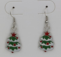 Wholesale Earring Green ENAMEL Christmas tree EARRINGS Antique silver Fishhook Ear Wire x15mm ab637
