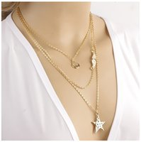sheet metal - Fashion Pentagram Mustache Metal Sheet Mulitylayer Chain Necklace Round Choker Necklaces