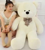 achat en gros de gros ours en peluche enfants-Ours blanc 80cm mignon petit nounours grande grande peluche jouets en peluche enfant nuisettes anniversaire cadeau de Saint-Valentin pour fille Grande Vente